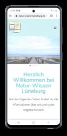 Responsive Website für Natur-Wissen Lüneburg Smartphoneansicht