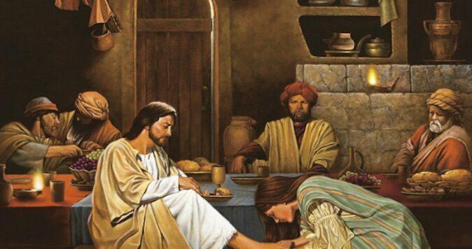 peccatrice lava i piedi a Gesù