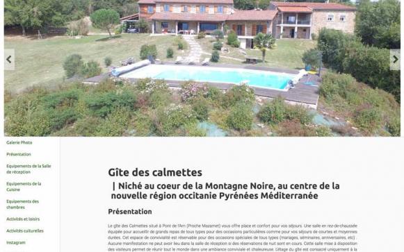 Capture d'écran du site internet du Gite Des Calmettes