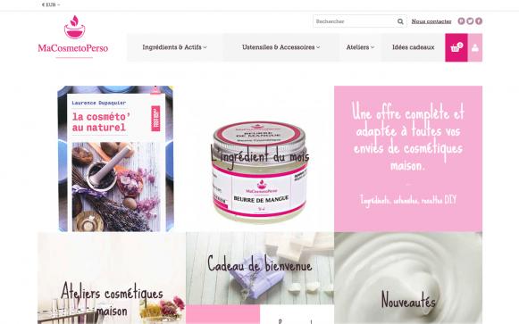 Capture d'écran du site internet MaCosmetoPerso
