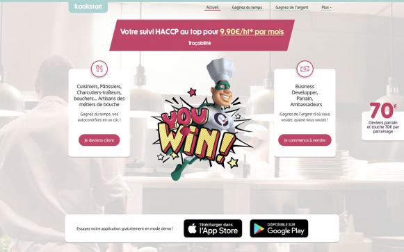 Capture d'écran du site Kookstart