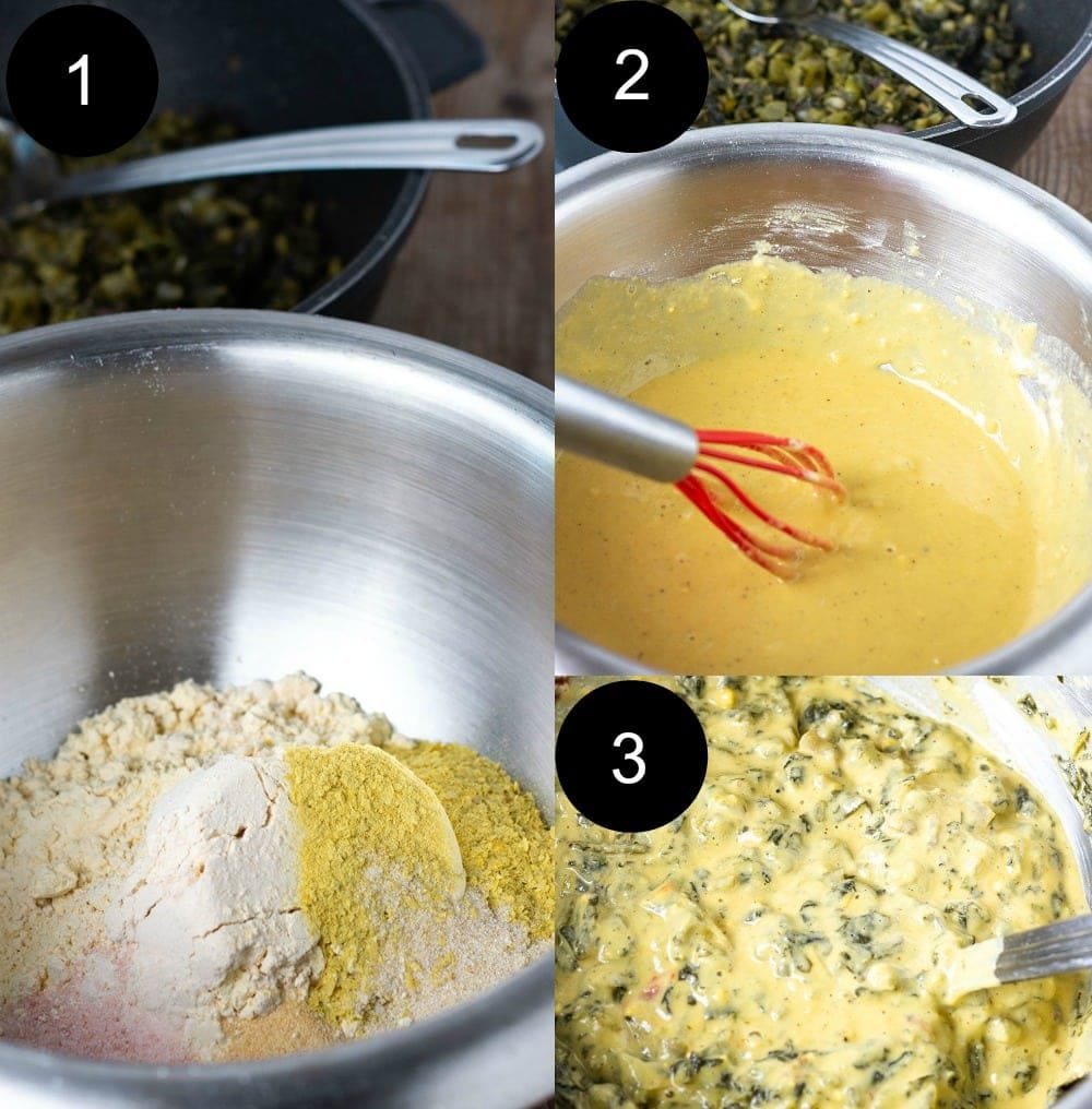 Jamaican callaloo fritters showing the 3 steps for the batter.