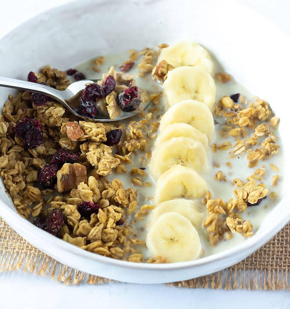 Oil-Free gluten-free granola bowl with banana slices