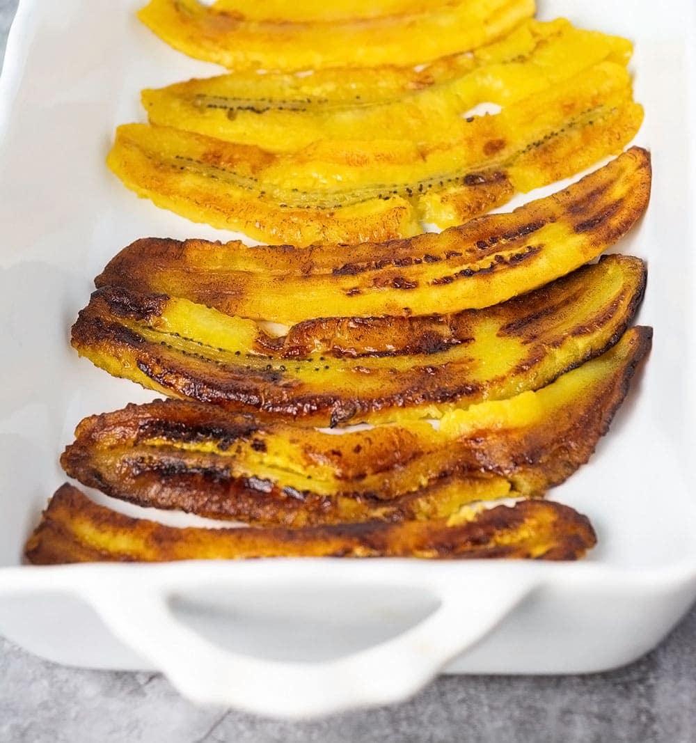 plantain slices cooked for vegan pastelon plantain lasagna