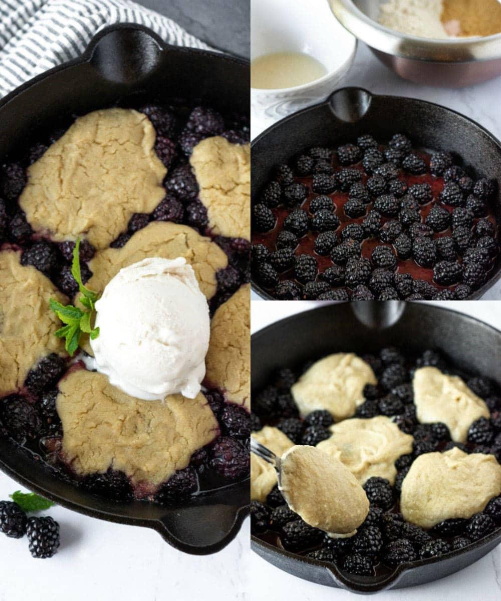 Steps for making blackberry cobbler