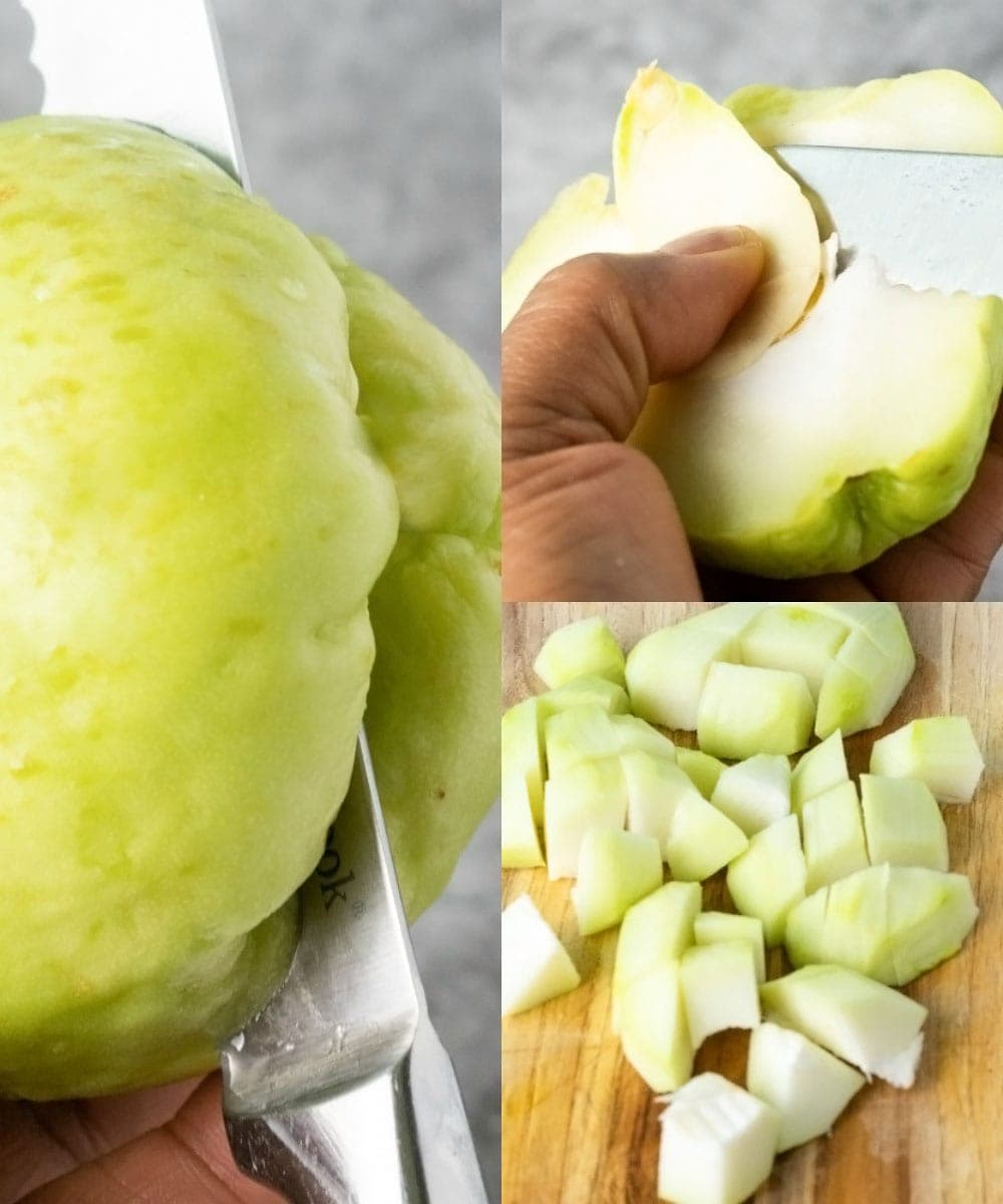 How to peel and chop chayote, step by step images