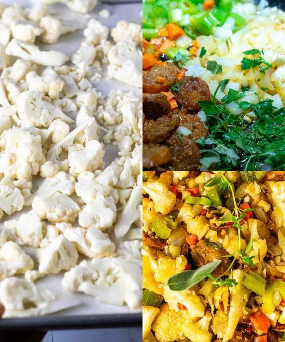 Step by step images of making vegan cauliflower stuffing, shower, cauliflower florets, sauteing sausage, and veggies