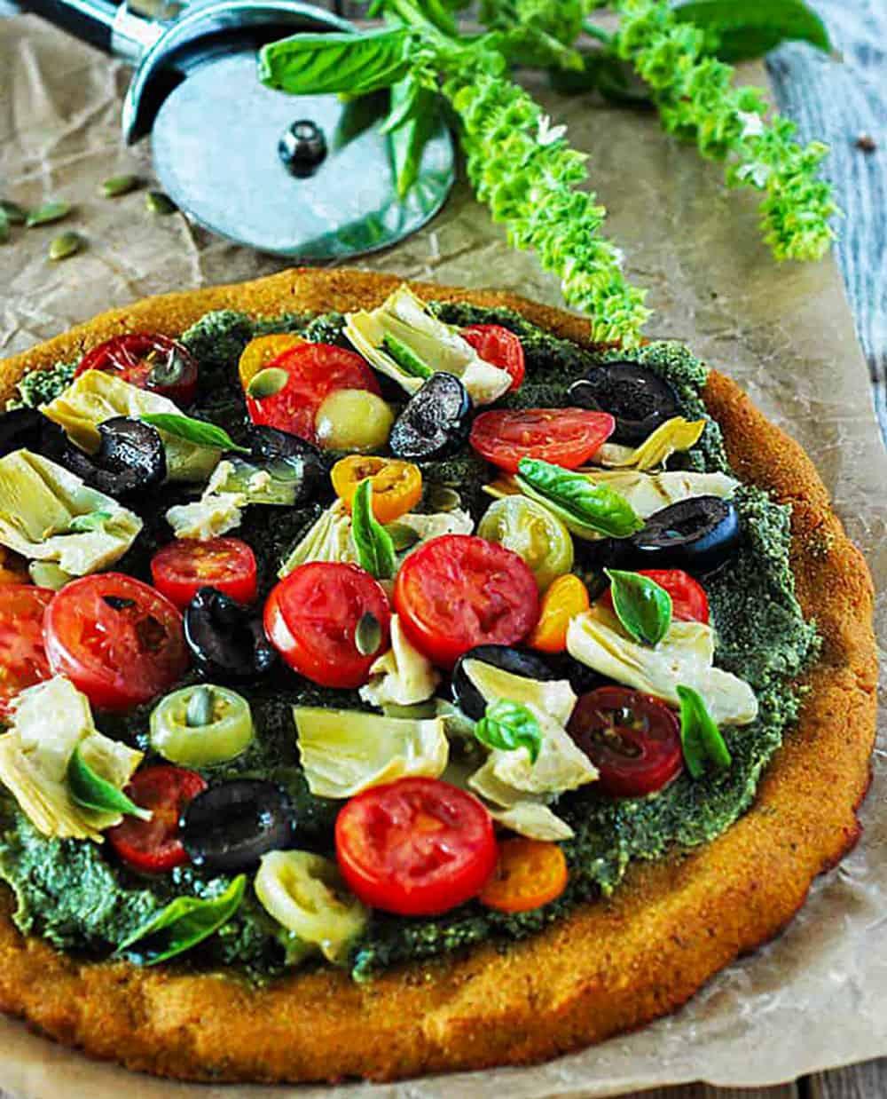 Mediterranean Pumpkin Pizza (Gluten-Free, Vegan) Whole