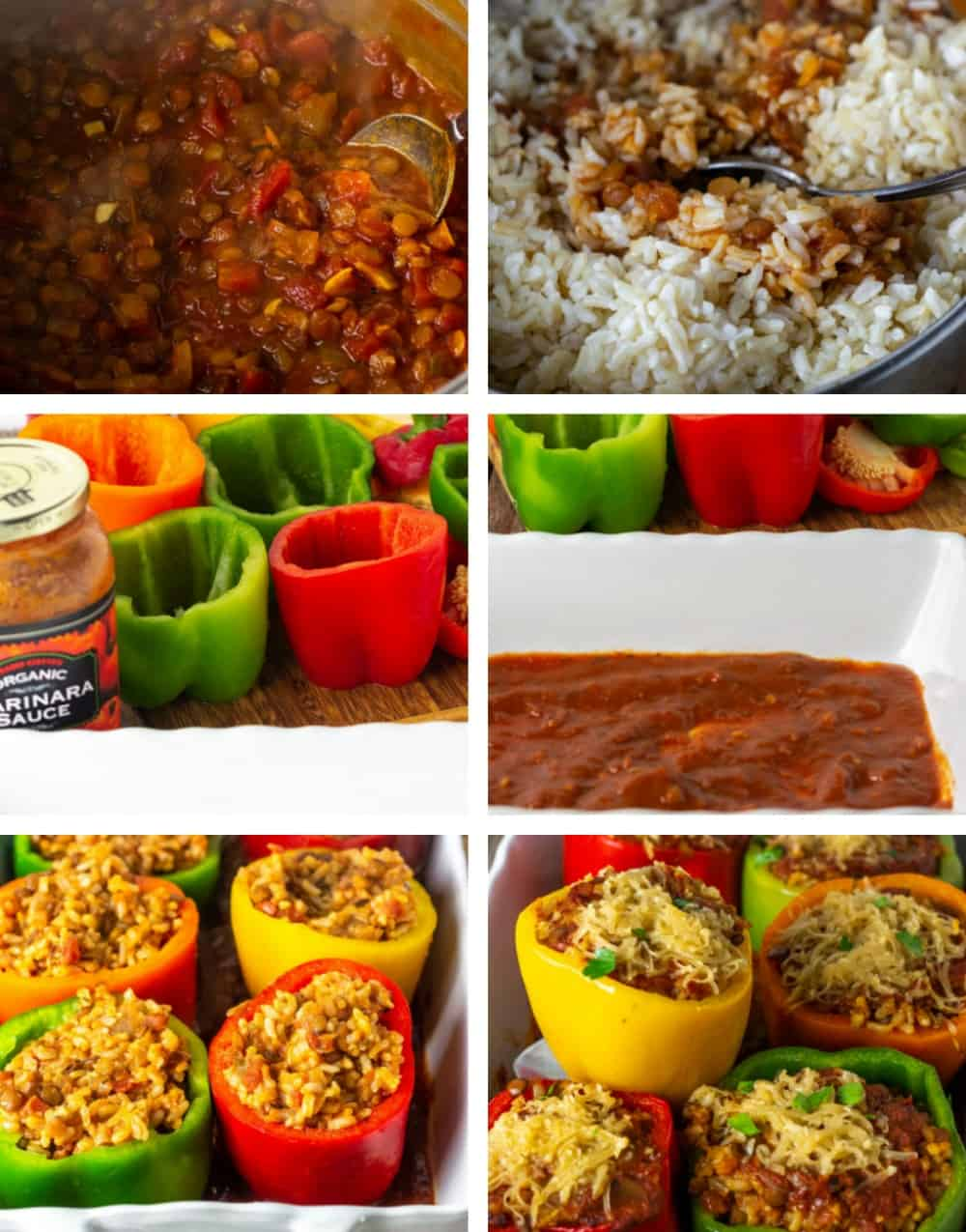 Step by step collage on how to make stuffed bell peppers