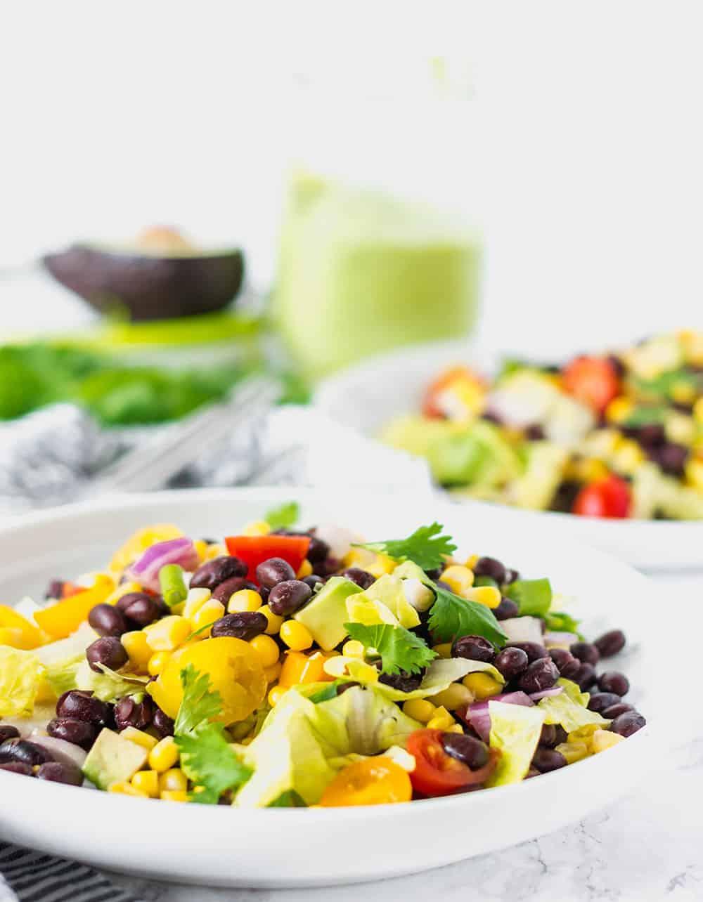 Southwestern Salad with Avocado Dressing, Vegan., Gluten-Free