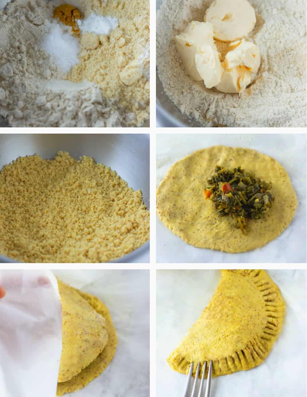 Step by Step collage of making Jamaican callaloo patties, from ingredients in a bowl, butter added, filling added to folding dough and crimping with fork. Then finished patty broken in half showing filling.