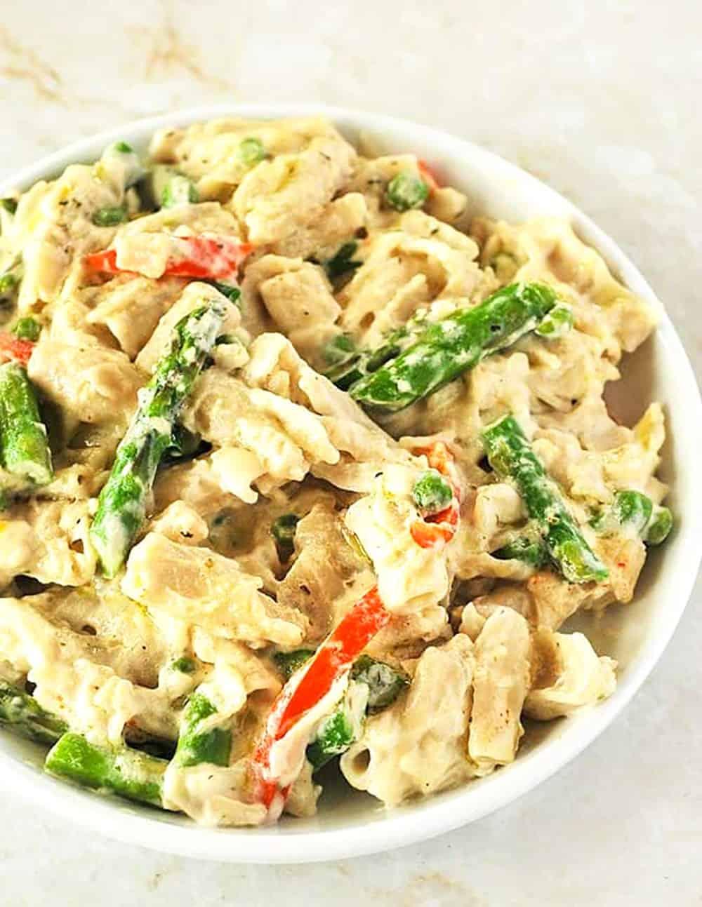 Creamy Vegan Alfredo With Vegetables