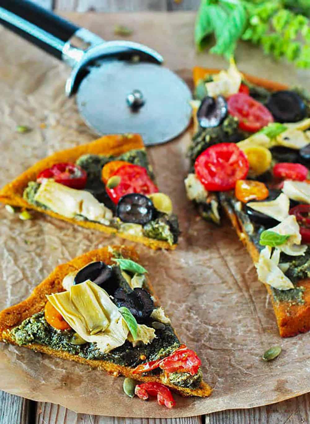 Mediterranean Pumpkin Pizza (Gluten-Free, Vegan) Slices