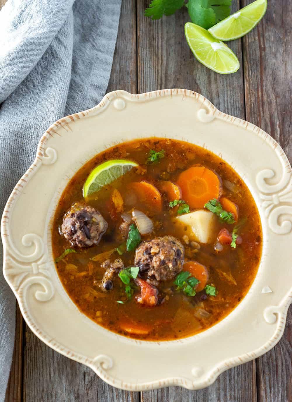 Instant Vegan Pot Mexican Meatball Soup