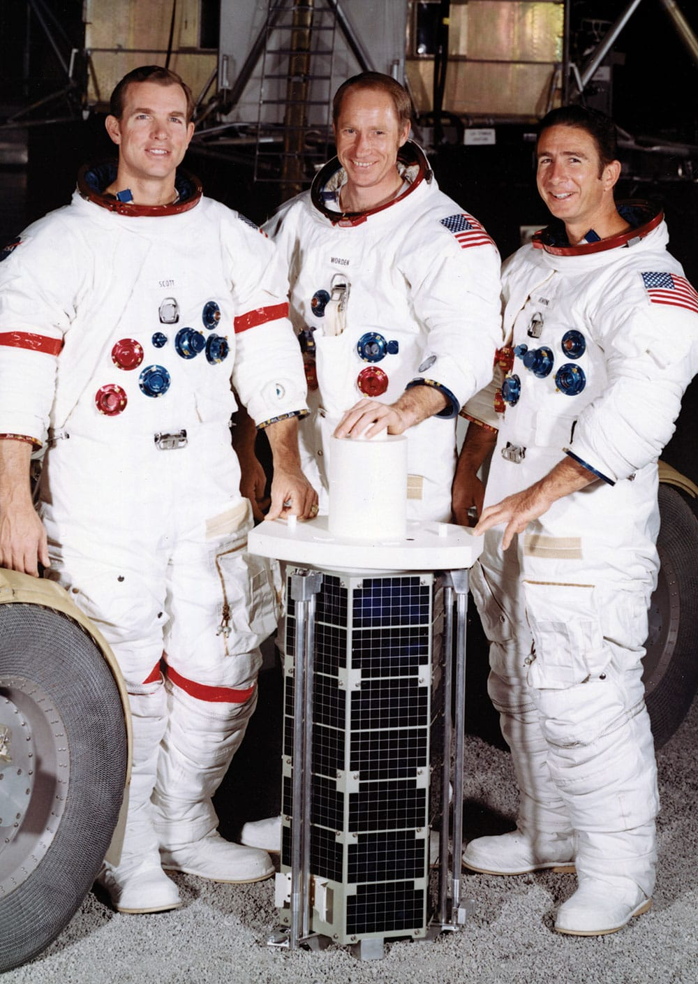 The crew of Apollo 15, from left, David R. Scott, Alfred M. Worden, and James B. Irwin, spent 12 days in space.