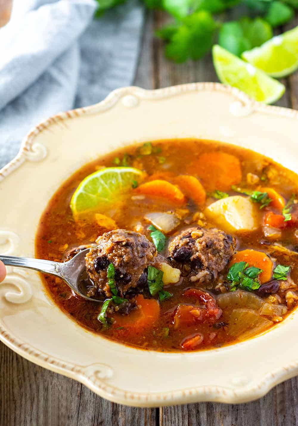 Easy Mexican Meatball soup made in a pressure cooker