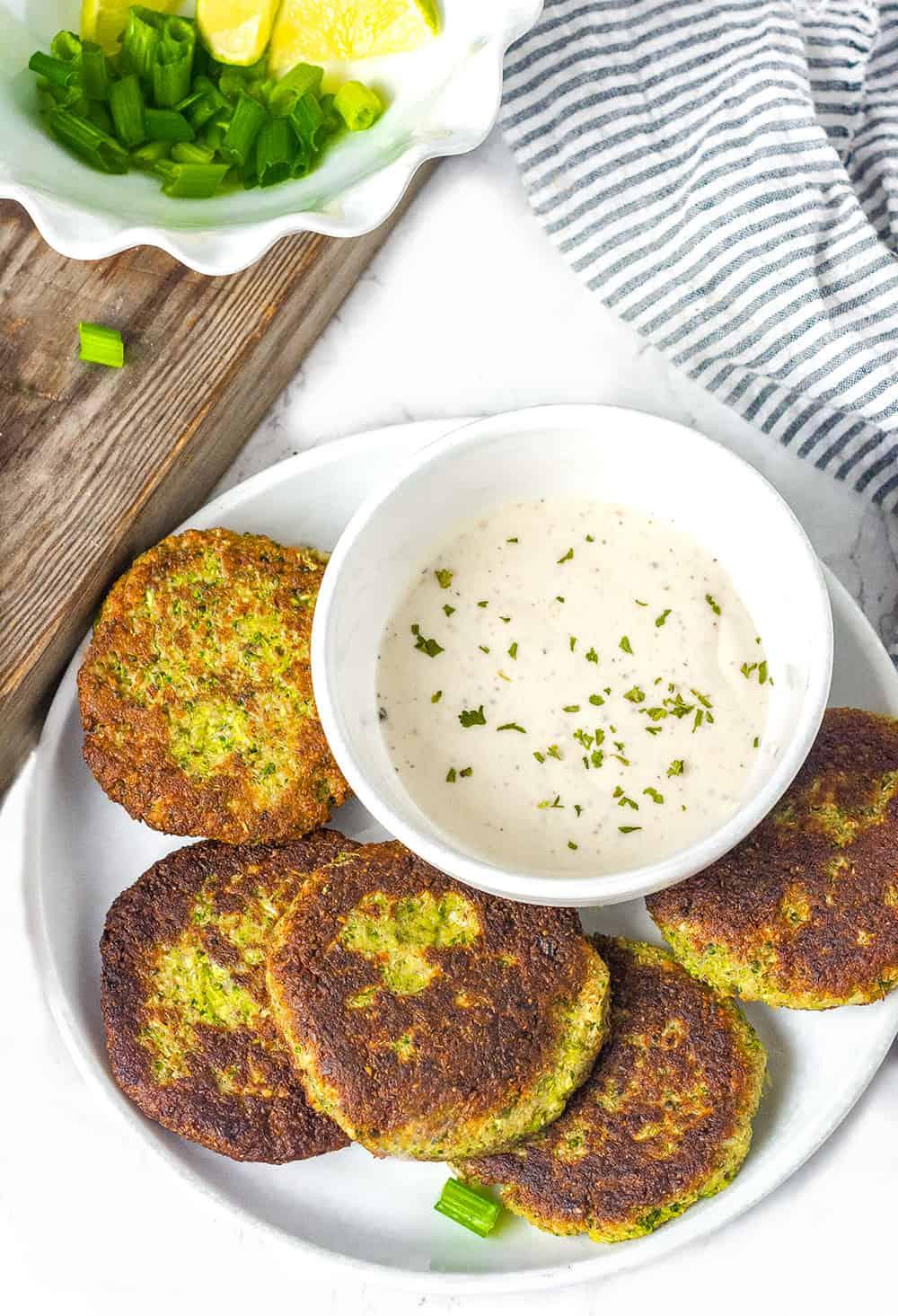 Vegan Broccoli Fritters With Vegan Ranch Dressing