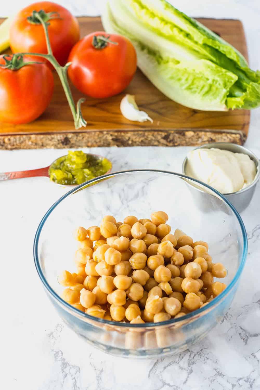 Chickpea Salad Wrap ingredients