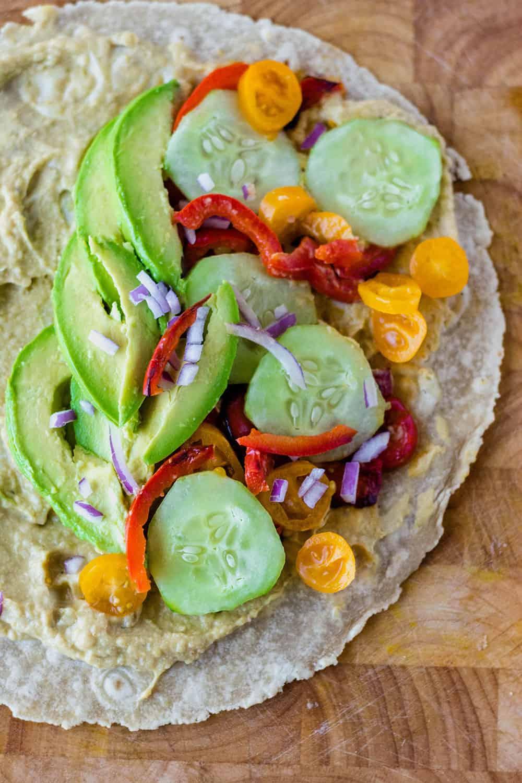 Vegan Quesadilla with Hummus and vegetables