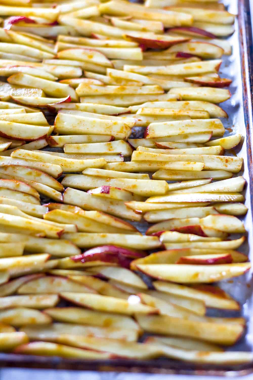 Vegan Pinto Bean Chili Cheese Fries on Baking Sheet