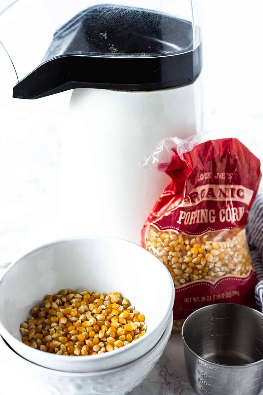Vegan Popcorn ingredients, pop corn machine, popcorn kernels