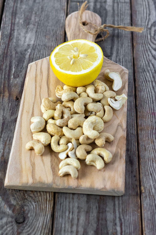 cashews and lemon for vegan sour cream recipe