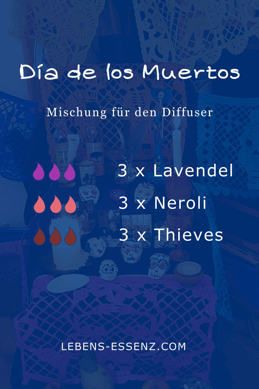 Día de los Muertos - Mischung für den Diffusor - mit ätherischen Ölen Lavendel, Neroli und Thieves - wie Agua Florida