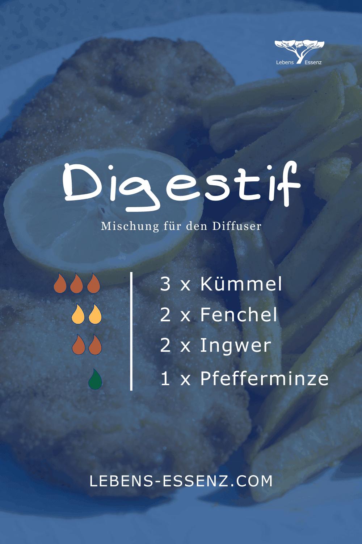 Digestif - Mischung für den Diffusor für ätherische Öle - mit Kümmel, Fenchel, Ingwer, Pfefferminze
