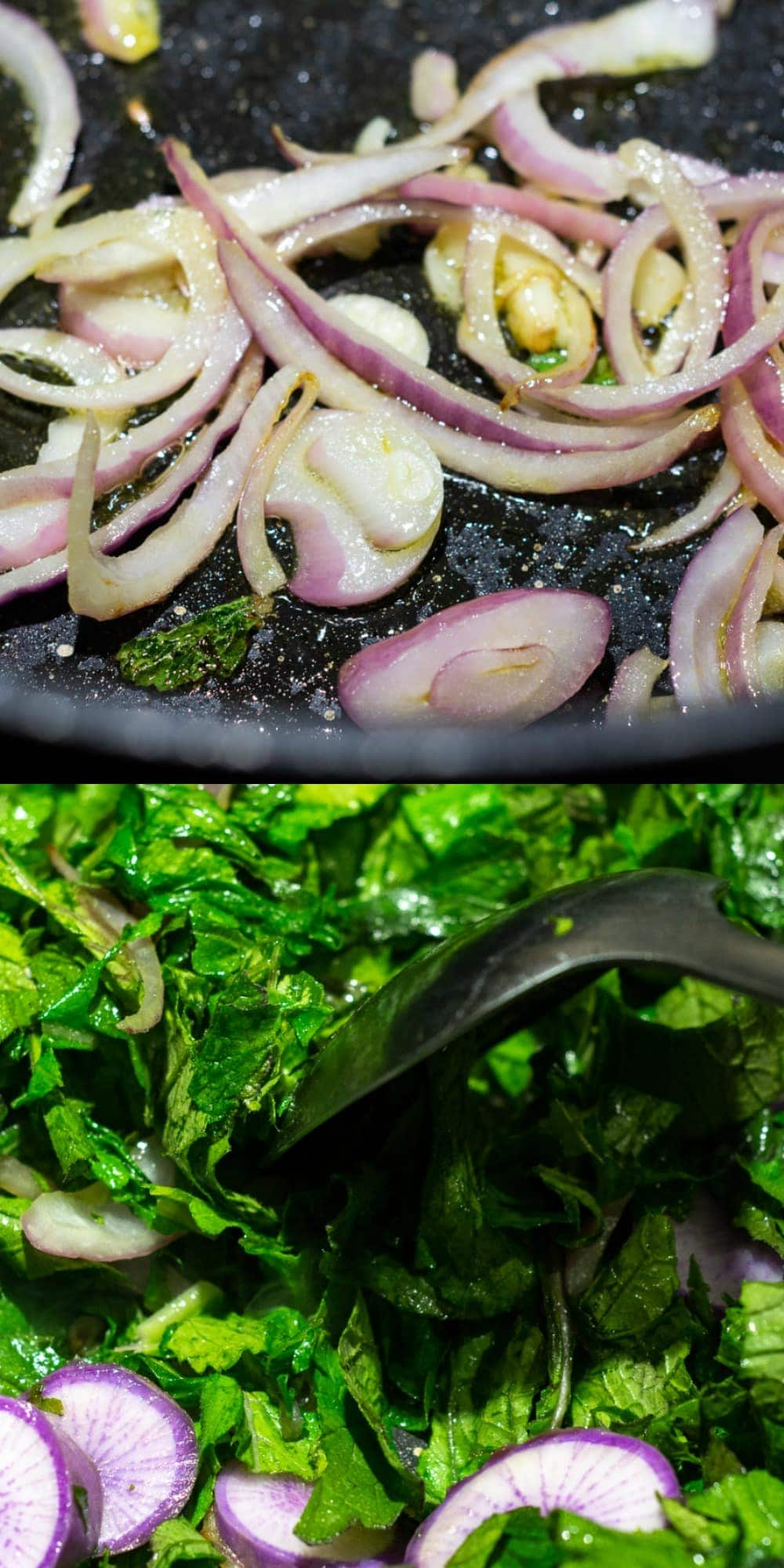how to saute radish and radish leaves in a large silll