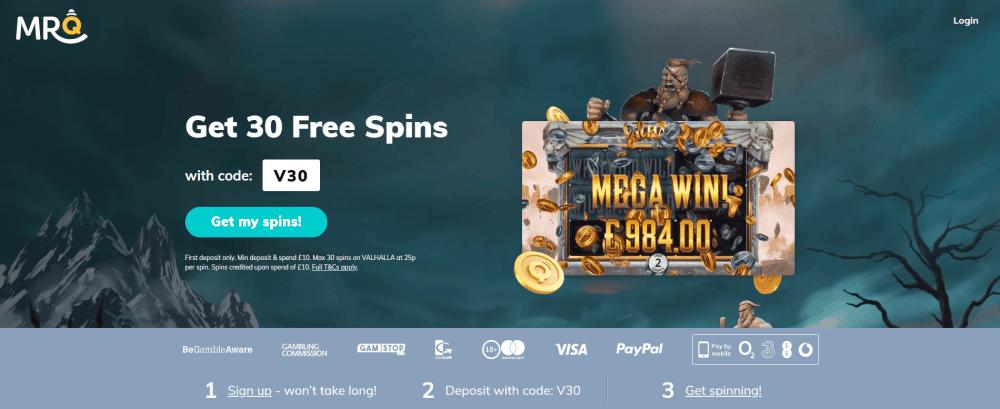MrQ 30 Free Spins VALHALLA