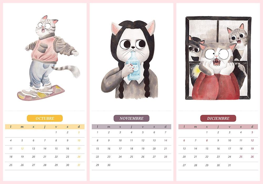 Calendario de gatos 2021, gatos de cine, ilustraciones de gatos, Regreso al futuro 2, Marty McFly, aeropatín, La Familia Addams, Miércoles Addams, Solo en casa, Makaulay Culkin,