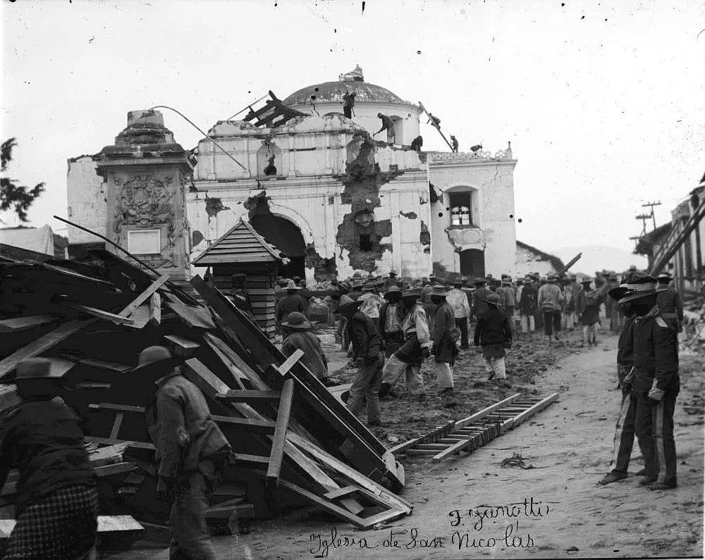 Efectos del terremoto San Perfecto y del volcán Santa María
