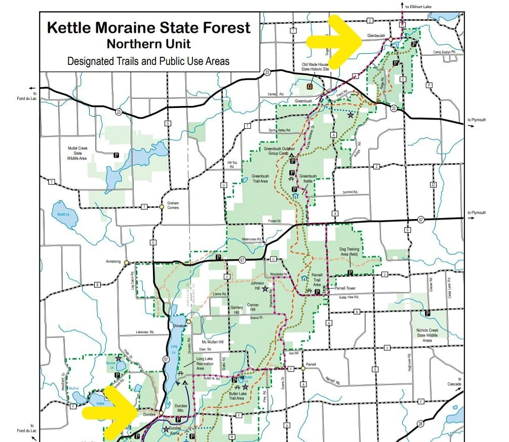 Map of Ice Age Trail and hiking Kettle Moraine State Forest