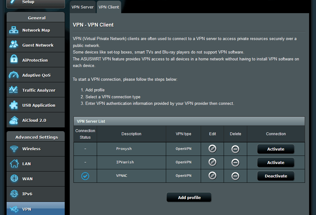 Asus router OpenVPN client settings for VPN