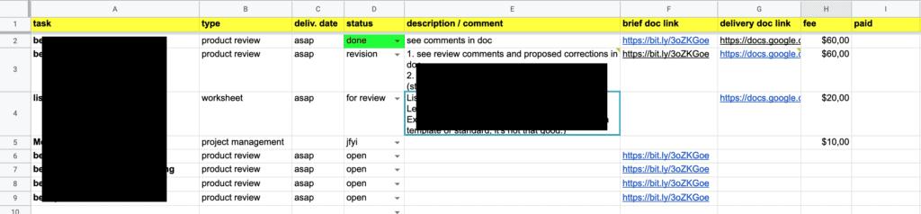 Google Tabellen als Projektmanagement-Tool