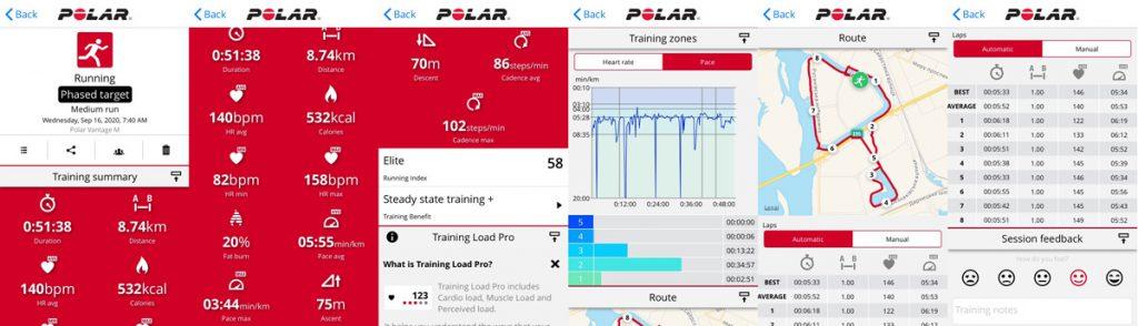 Анализ тренировки в приложении Polar Flow
