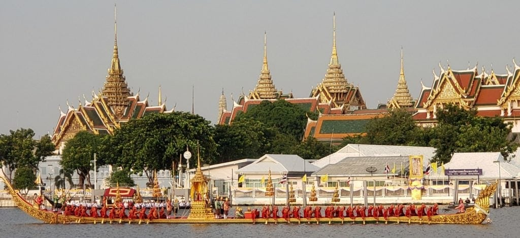 Longboats in front of Royal Palace during rehearsal of Thai Royal Barge Processional