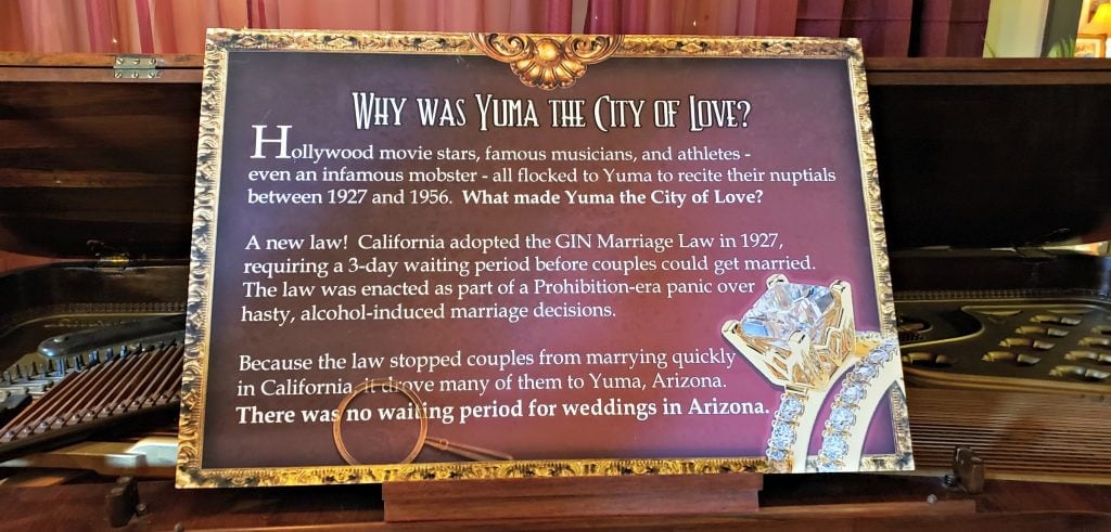 """A sign posted in the museum asks 'Why was Yuma the City of love?"""" is embellished with a picture of a diamond engagement ring."""