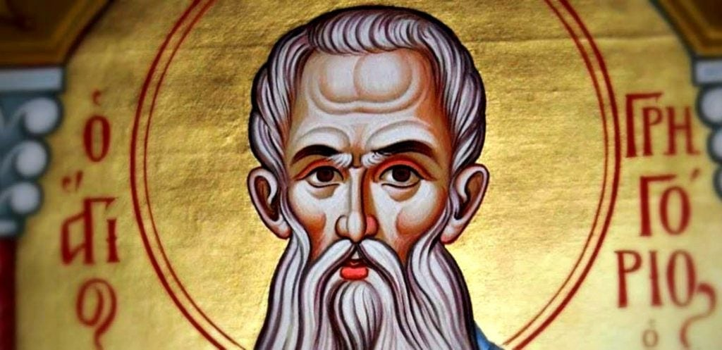 icon of gray-haired saint on gold leaf background at Holy Resurrection Monastery