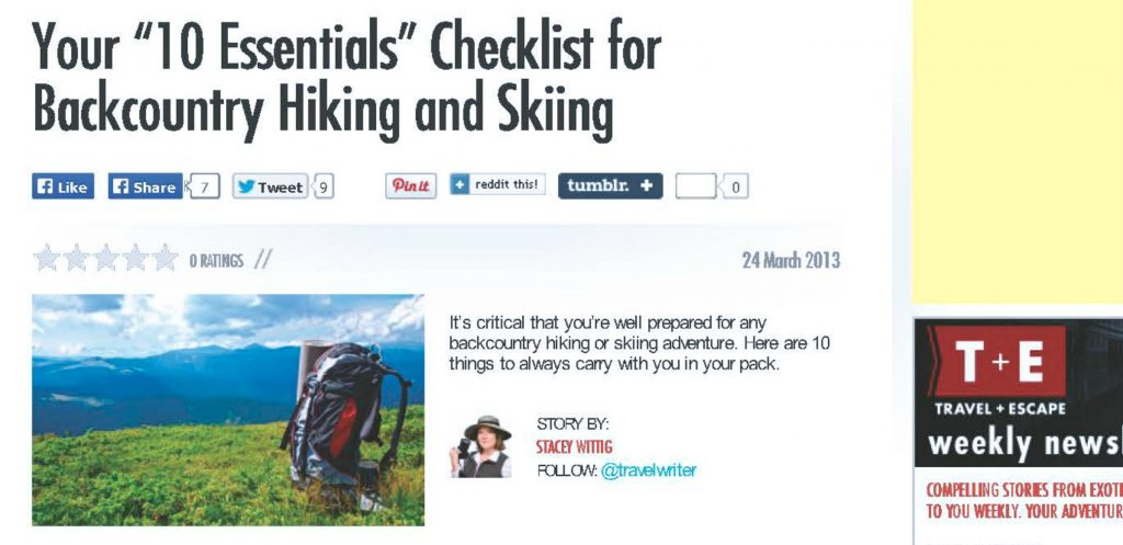 screen shot of T+E website page that reads: 10 Essentials Checklist for Backcountry hiking and skiing and then lists the ten essentials hiking