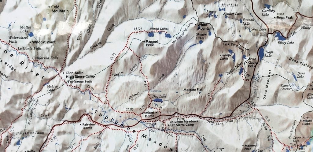 graphic of map that shows trails for Backpacking Tuolumne Meadows to Young Lakes Yosemite