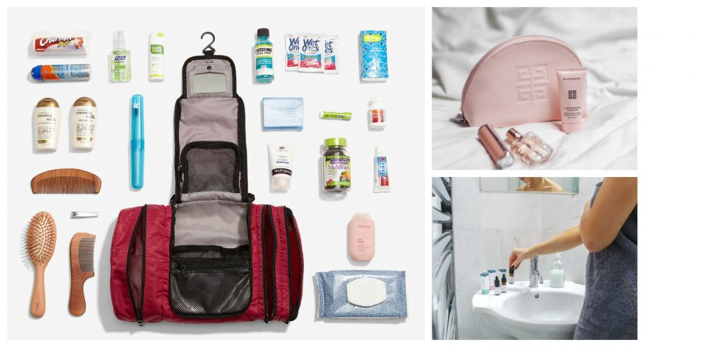 collage of: hanging travel organizer laying open with toiletries laid out around; pink toiletry bag with perfume is a lightweight toiletry bag; woman trying to balance toiletries on pedestal sink