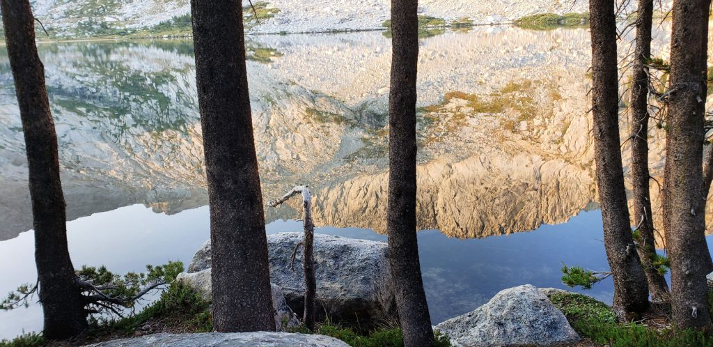 view of calm water mirroring the white mountains - 4 trees are siloutted on the bank of lower young LAkes Yosemite Nat'l Park