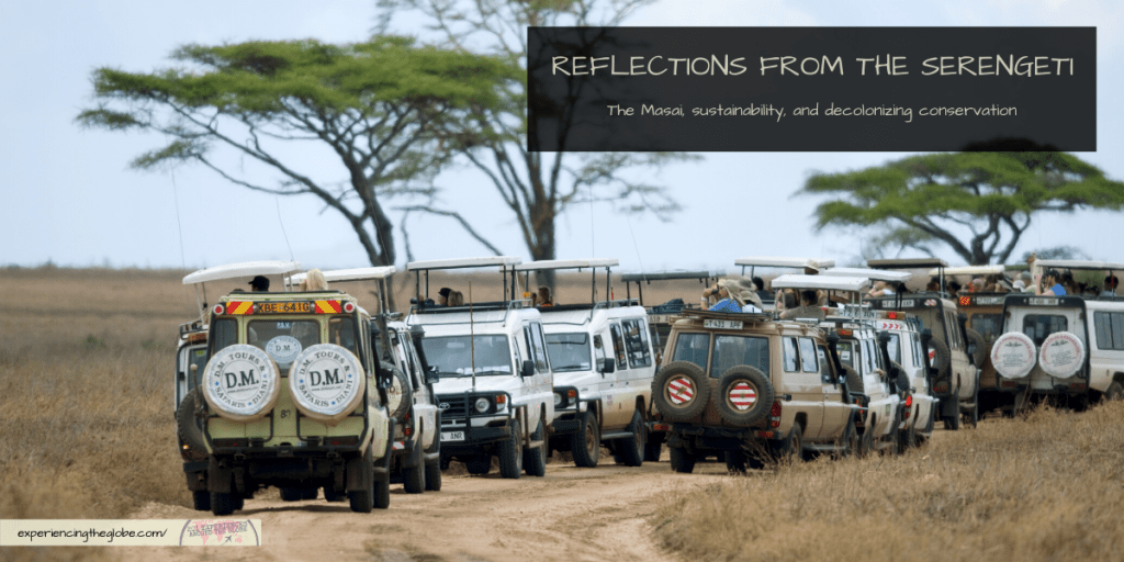 Conservation is deeply rooted in colonialism, with decisions being made without accounting the worldview of the indigenous peoples that have inhabited and protected the land from millennia. Since the focus is on tourism in Serengeti instead than in the wildlife and the environment, we need to fill the void and take action to make our visit more sustainable, while learning about the situation to push towards decolonizing conservation – Experiencing the Globe