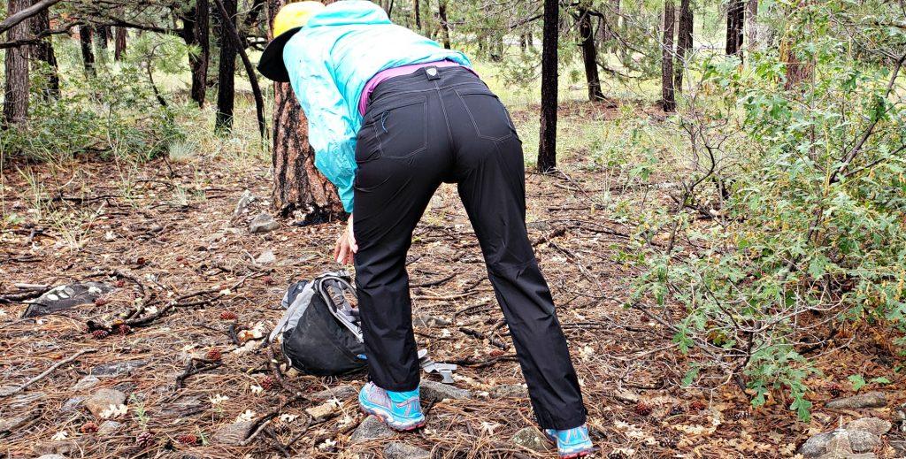 Backside of KÜHL JetStream™ Rain Pants as author bends over