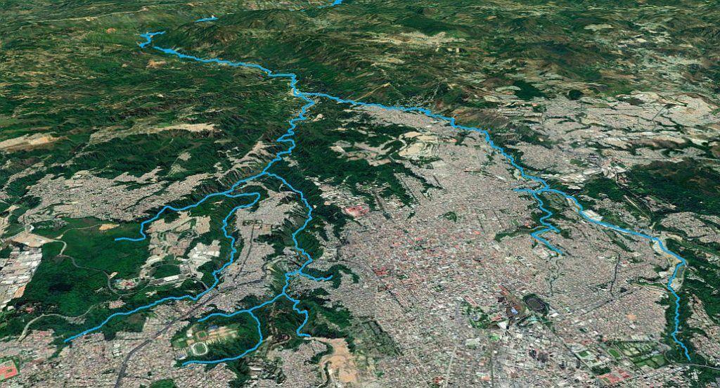 Cuencas hidrográficas de los ríos Las Vacas (izquierda) y rio Negro (derecha) en la Ciudad de Guatemala