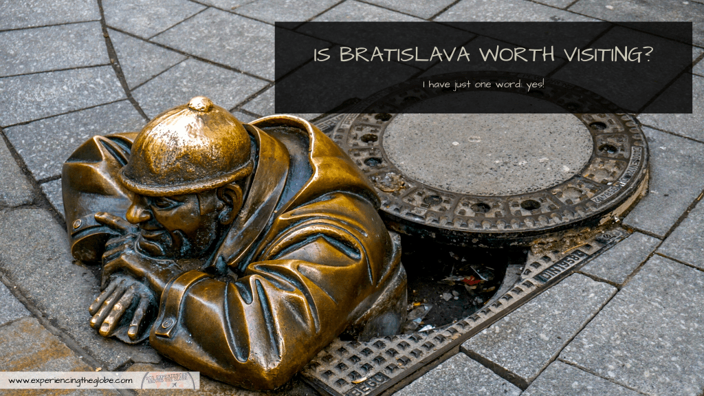 """Travelers in Vienna, Prague or Budapest often ask """"is Bratislava worth visiting?"""", and I only reply with one word: absolutely! Gorgeous architecture and no crowds, it doesn't get better! – Experiencing the Globe #Bratislava #Slovakia #TravelPhotography #IndependentTravel #SoloFemaleTravel #BucketList #Architecture #ArtNoveau #Brutalism #ManAtWork #SchoneNaci #Petrzalka #UFObridge #BlueChurch"""