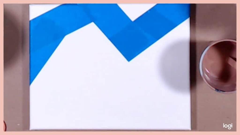 masking tape mountain shape on canvas