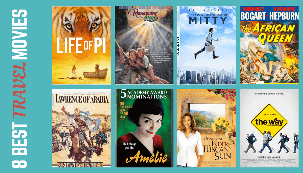 Collage of 8 best travel movies DVD covers and favorite travel movie posters