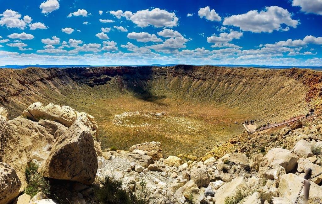aerial view of massive meteor crater in Arizona landscape
